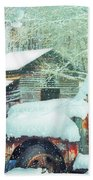 Softly Snowing On The Country Farm Beach Towel