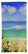 Spring Flowers And Sea And Clouds Beach Towel
