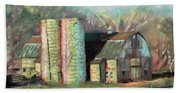 Spring On The Farm - Old Barn With Two Silos Beach Towel