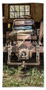 Square Format Old Tractor In The Barn Vermont Beach Towel
