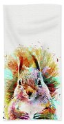 Squirrel Painting Beach Towel