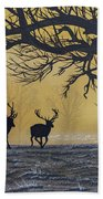 Stags At Dawn Beach Towel
