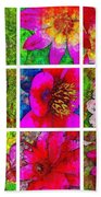 Stained Glass Pink Flower Collage  Beach Towel