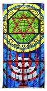 Star Of David Stained Glass Beach Towel