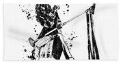 Steven Tyler Microphone Aerosmith Black And White Watercolor 01 Beach Towel