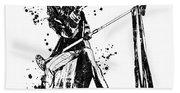 Steven Tyler Microphone Aerosmith Black And White Watercolor 04 Beach Towel