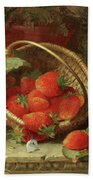 Still Life Of Strawberries With A Cabbage White Butterfly Beach Sheet
