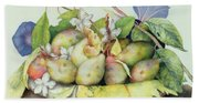 Still Life With Plums, Walnuts And Jasmine Beach Sheet