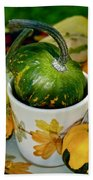 Still Live With Autumn Coffee Cup And Gourds Beach Towel