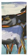 Stone Barn Cows Beach Towel