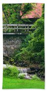 Stone Bridge And Waterfall Landscape Beach Towel