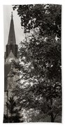 Stone Chapel - Black And White Beach Towel