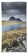 Suilven On A Stormy Day Beach Sheet
