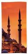 Suleymaniye Mosque At Sunset Beach Towel