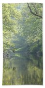 Summer Time River And Trees Beach Towel