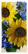 Sunflowers And Hydrangeas Beach Towel