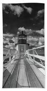 Sunny Skies At Marshall Point In Black And White Beach Towel