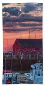Sunrise On Rockport Harbor Beach Towel by Jeff Folger