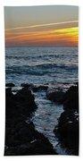 Sunset In Gale Beach. Coast Of Algarve Beach Towel