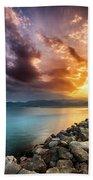 Sunset In Nafplio Beach Sheet