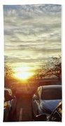 Sunset In Parking Lot 2 Beach Sheet
