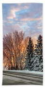 Sunset In Winter Beach Towel
