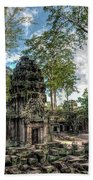 Ta Prohm Temple Inside Angkor Complex, Cambodia. Beach Sheet