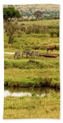 Tanzania Animal Landscape Beach Towel