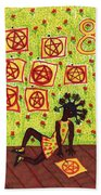 Tarot Of The Younger Self Eight Of Pentacles Beach Towel