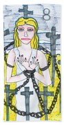 Tarot Of The Younger Self Eight Of Swords Beach Towel