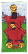 Tarot Of The Younger Self Four Of Pentacles Beach Towel