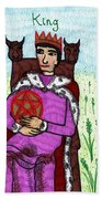 Tarot Of The Younger Self King Of Pentacles Beach Sheet