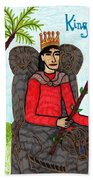 Tarot Of The Younger Self King Of Wands Beach Towel