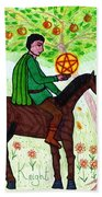 Tarot Of The Younger Self Knight Of Pentacles Beach Towel