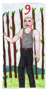 Tarot Of The Younger Self Nine Of Wands Beach Towel
