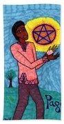 Tarot Of The Younger Self Page Of Pentacles Beach Towel