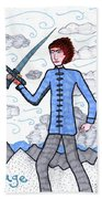 Tarot Of The Younger Self Page Of Swords Beach Towel