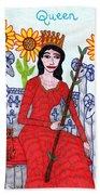 Tarot Of The Younger Self Queen Of Wands Beach Towel