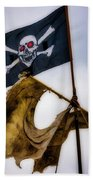 Tattered Sail And Pirate Flag Beach Towel