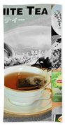 Tea Collage With Brush  Beach Towel