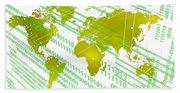Tech Worldmap With Binary Code Beach Sheet