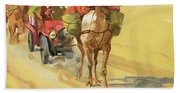 Ten Thousand Mile Motor Race Camel Train Beach Sheet
