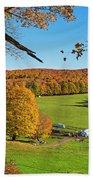 Tending To The Farm Woodstock Vermont Vt Vibrant Autumn Foliage Yellow And Orange Beach Towel