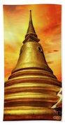 Thai Temple Sunset Beach Towel by Adrian Evans
