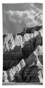 The Badlands In Black And White Beach Towel