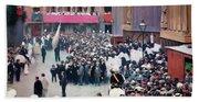 The Corpus Christi Procession Leaving The Church Of Santa Maria Del Mar - Digital Remastered Edition Beach Sheet