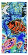 The Day The Stars Fell Into The Ocean Beach Towel by Mimulux patricia No