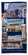 The Shops Of Provincetown Cape Cod Massachusetts Collage Pa Beach Towel