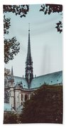 The Spire - Cathedral Of Notre Dame Paris France Beach Sheet