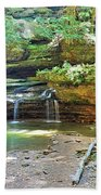 The Waterfall In Old Man's Cave Hocking Hills Ohio Beach Towel